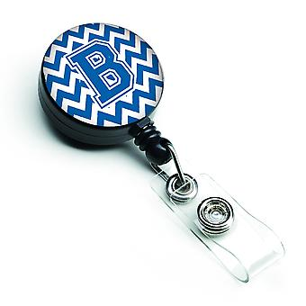 Letter B Chevron blauw en wit intrekbare Badge Reel