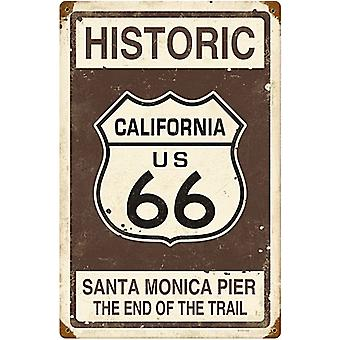 Route 66 Santa Monica Pier rusted steel sign (pst)