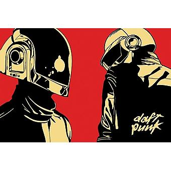 Daft Punk Cartoon Helmets Poster Poster Print