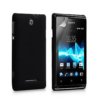 Guarde acessórios Sony Xperia E híbrido difícil caso - preto