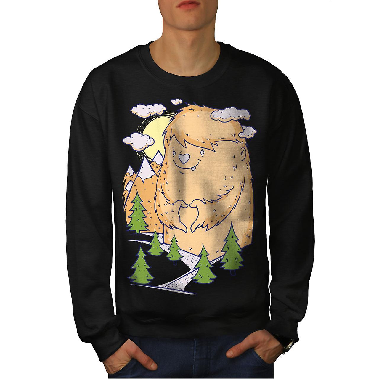 Søte Monster Hill dyr menn BlackSweatshirt | Wellcoda
