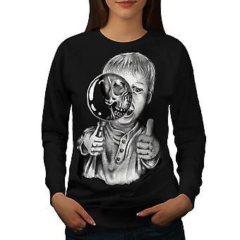 Kid Scary Scream Women BlackSweatshirt | Wellcoda
