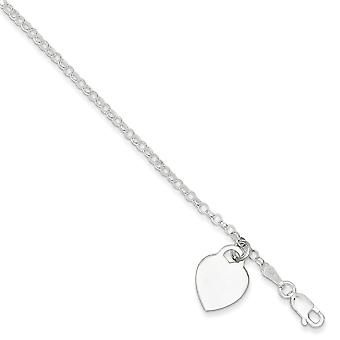 Sterling Silver 7.25 Inch Heart Charm Childs Bracelet