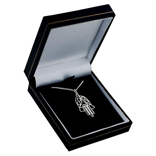 Silver 29x18mm Hand of Fatima Pendant with a curb Chain 22 inches