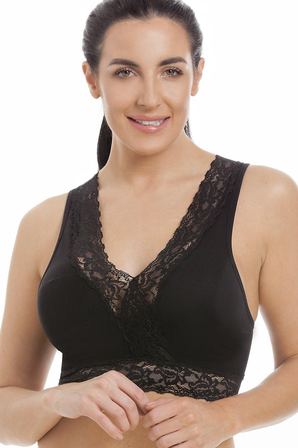 Camille Black Seamfree Maternity Lace Sleeping Bra