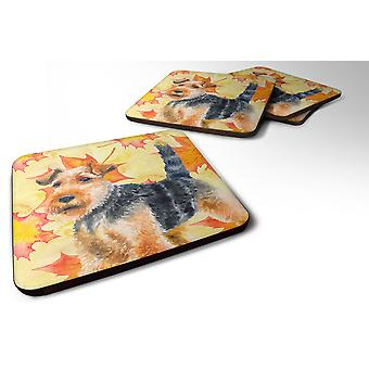 Carolines Treasures  BB9961FC Set of 4 Welsh Terrier Fall Foam Coasters Set of 4