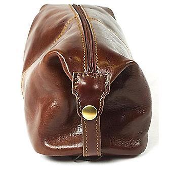 Genuine Italian Leather Luxury Wash Bag Travel Vintage Toiletry Brown Unisex