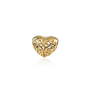 Charms Beads heart Silver 925 plate yellow gold