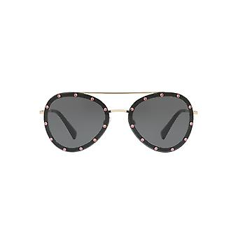 Valentino Pearl Stud Pilot Sunglasses Light Gold Grey