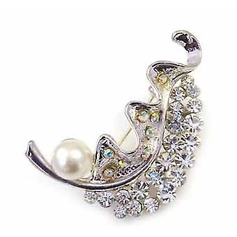 Brooches Store Fancy Wave Crystal and Pearl Brooch