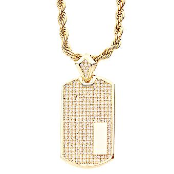 Iced out bling micro pave pendant - DOG day gold