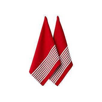 Ljungberg uppsättning 2 slaktare Stripe serie II röd kökshanddukar