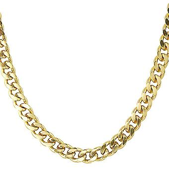 Iced out stainless steel curb chain - CUBAN 8 mm gold