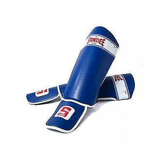 Sandee Sport Slim PU Shin Guards - Blue White