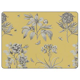 Sanderson for Pimpernel Etchings & Roses Yellow Placemats, Set of 6