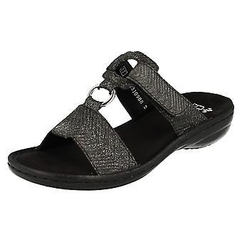Ladies Rieker glitrende t-bøylen sandaler 608A0