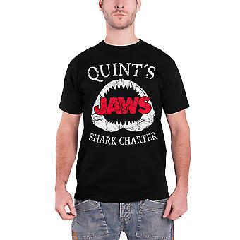 Jaws T Shirt Quints Shark Charter Movie Logo new Official Mens Black