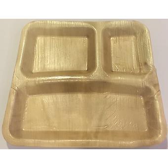 Öko-Partei Einweggeschirr - 23 cm x 22 cm rechteckig 3 Trennblech (25 Platten)