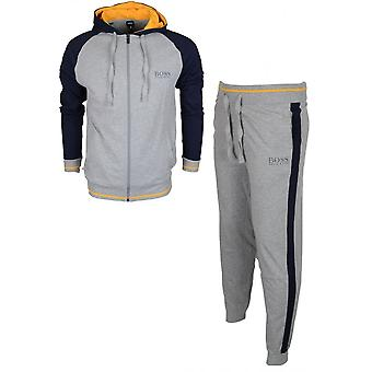 Hugo Boss Authentic Cotton Regular Fit Thin Hooded Grey/navy Tracksuit