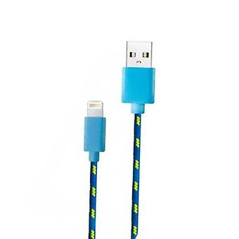 Stuff Certified ® iPhone / iPad / iPod charging cable Lightning Braided Nylon Charging Data Cable 1 Meter Data Blue