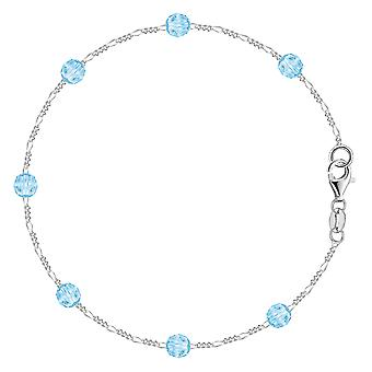 Baby Blue Synthetic Resin Bead Chain Anklet In Sterling Silver