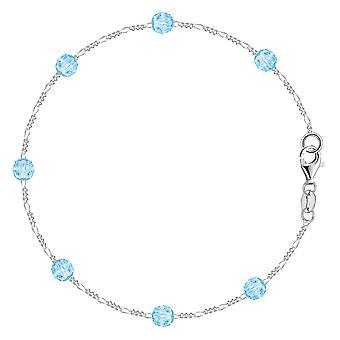 Azul sintético resina cordón cadena anklet en plata de ley