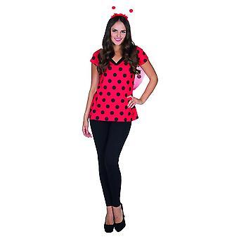 V-Shirt Marienkäfer rot schwarz gepunktet Damen Karneval Insekt Kostüm