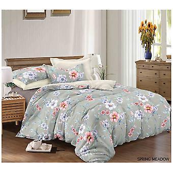 Frühlingswiese gemalt Quilt Bettbezug florale Bettwäsche-Set Kissenbezug