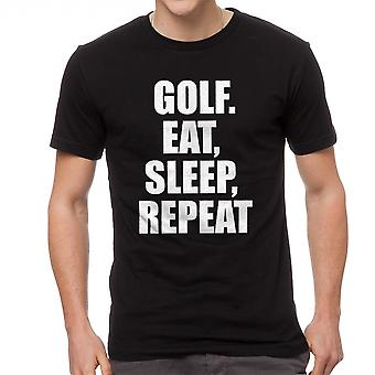 Play Sports Eat Sleep Repeat Quote Graphic Men's Black T-shirt