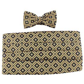 Knightsbridge Neckwear Bow Tie and Cummerbund Set - Gold/Black