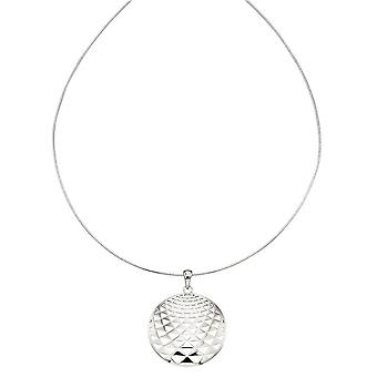 Elements Silver 3D Effect Cut Out Disc Drop Pendant - Silver