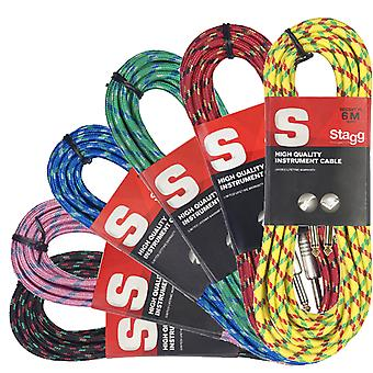 Stagg 6m Vintage Tweed Instrument Cable - Available in Black, Blue, Green, Pink, Red, or Yellow