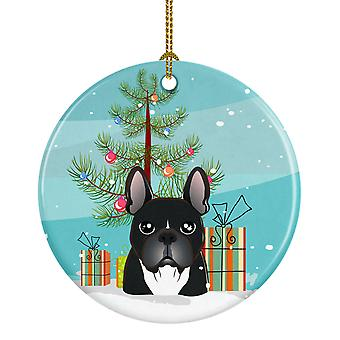 Christmas Tree and French Bulldog Ceramic Ornament
