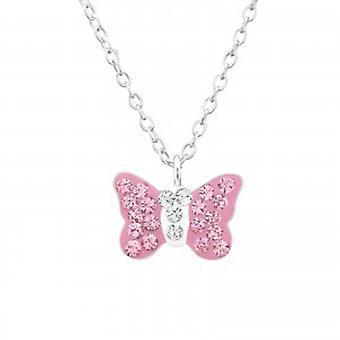 Piger sølv halskæde med lyserøde Swarovski krystal sommerfugl vedhæng