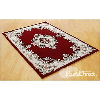 Royal Indian Red Shades og green, cream and beige on a red background Rectangle Rugs Traditional Rugs