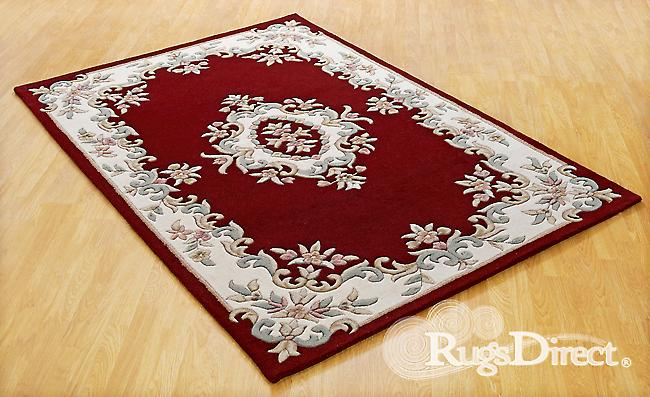 Vert, crème et beige de Royal Indian Red Shades sur un fond rouge Half Moon tapis tapis traditionnels