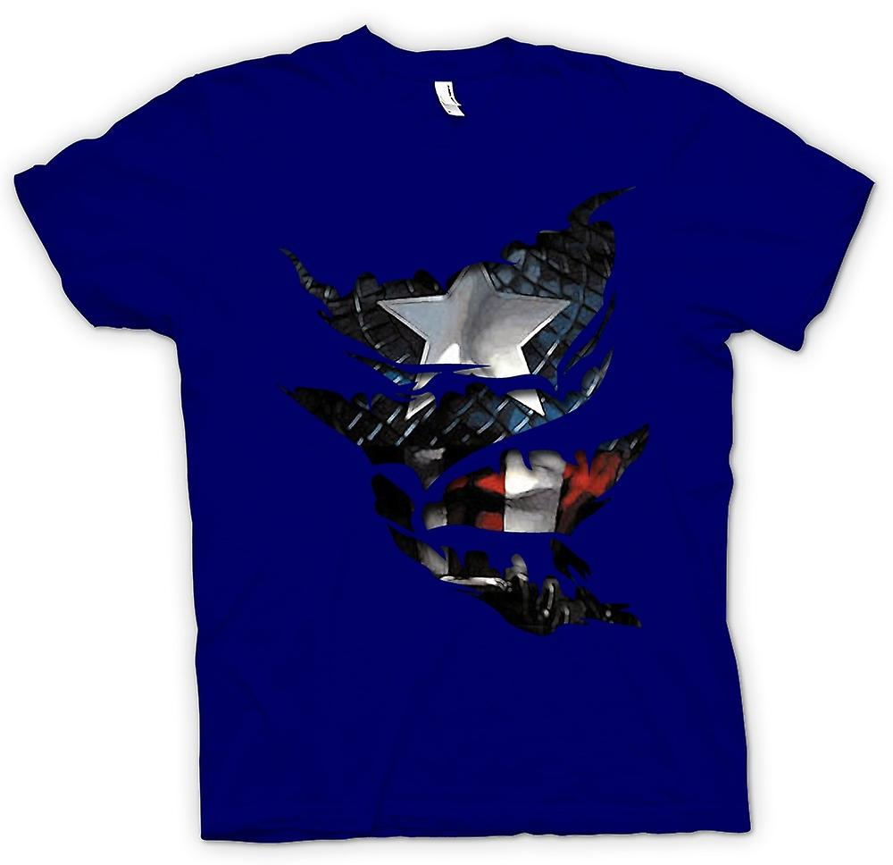 Mens T-shirt - Captain America - Ripped Effect