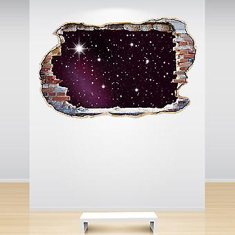 Full Colour Stars Smashed Wall 3D Effect Wall Sticker