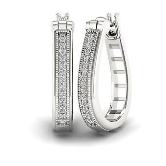 IGI Certified S925 Sterling Silver 0.20Ct Brilliant Diamond Hoop Earrings