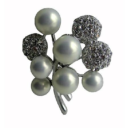 Opal Pearls & Cubic Zircon Cute Pin Brooch
