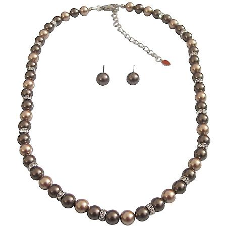 Bronze Pearls Brown Dark Chocolate Pearls Bridesmaid Handmade Jewelry