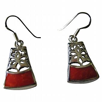 Beautiful Ethnic Sterling Silver Coral Inlaid Sterling Silver Earrings