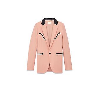 Saint Laurent Black/pink Wool Blazer