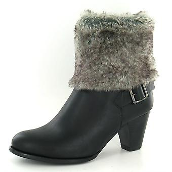 Ladeis Spot On Heeled Ankle Boot with Fur Turn Over Collar F50026