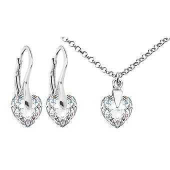 Ah Jewellery Clear Heart Crystal From Swarovski Sterling Silver Set 45cm Anchor Chain