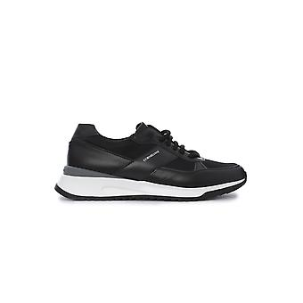 Corneliani Black Leather Sneakers