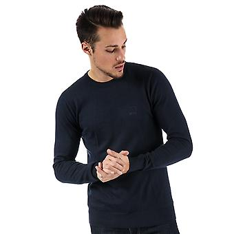 Mens Bench Cotton Fine Gauge Crew Knit In Navy- Ribbed Cuffs, Collar And Hem-