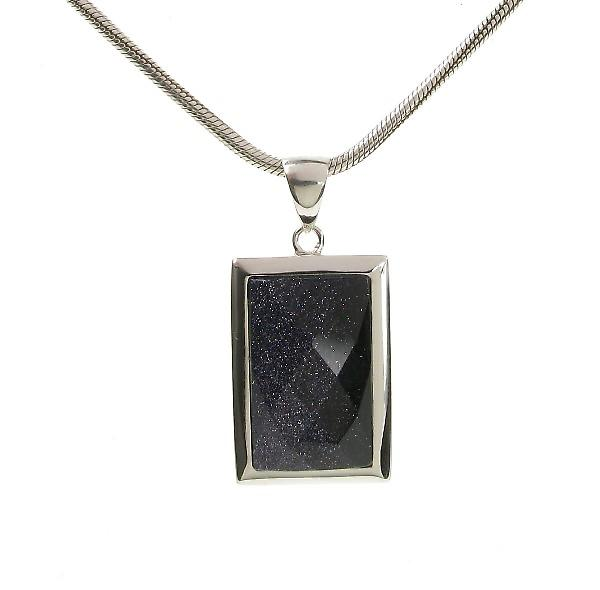 Cavendish French Silver Surround Blue Sandstone Oblong Pendant without Chain