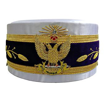 33rd Degree Scottish Rite White Cap Bullion Hand Embroidery