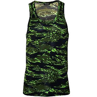 DSquared2 #Logo Camo Print Tank Top Vest In Modal Stretch, Military Green